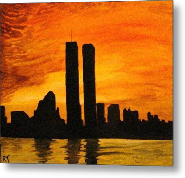 Twin Towers Silhouette Metal Print