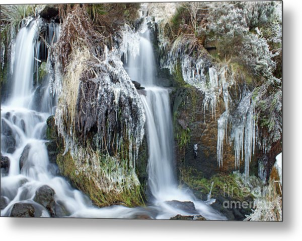 Twin Winter Waterfalls Metal Print