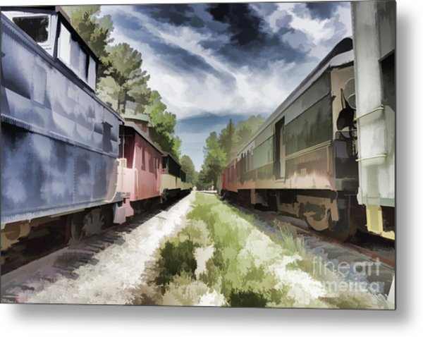 Twixt The Trains Metal Print