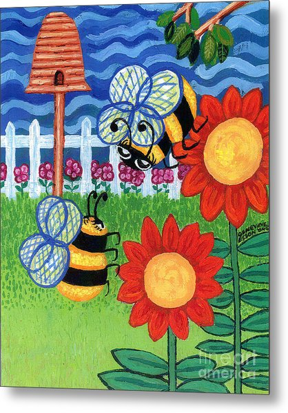 Two Bees With Red Flowers Metal Print