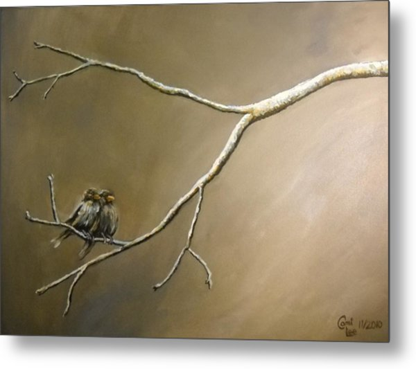 Two Birds On A Branch Metal Print