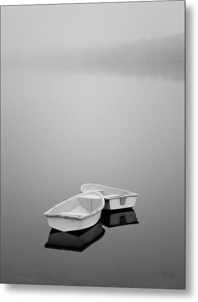 Two Boats And Fog Metal Print