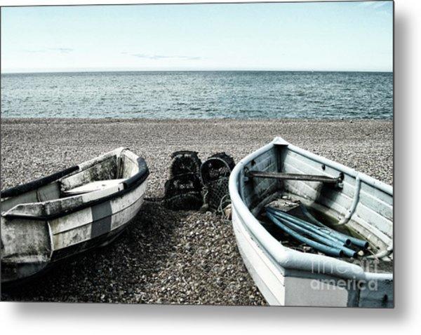 Two Boats On Seaford Beach Metal Print