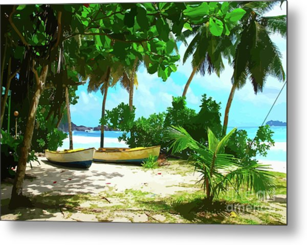 Two Boats On Tropical Beach Metal Print
