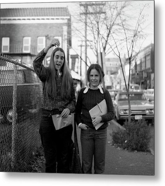 Two Brown Students, Thayer Street, Providence, 1972 Metal Print