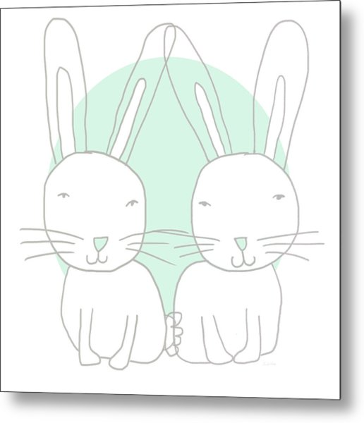Two Bunnies- Art By Linda Woods Metal Print
