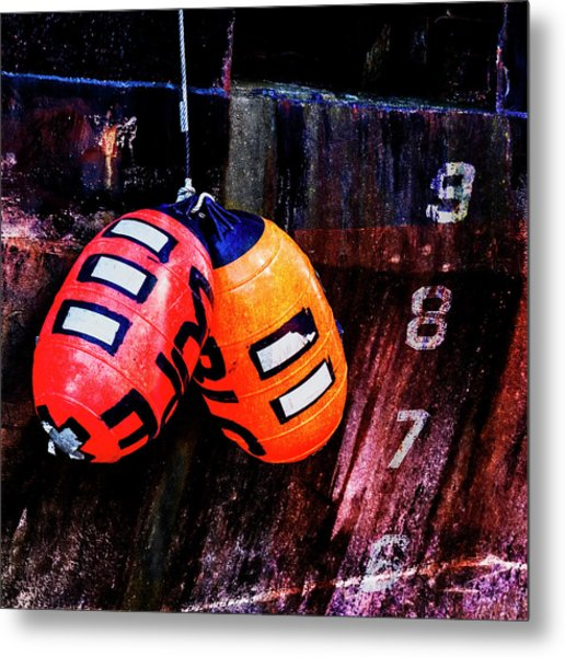 Two Buoys Left Of Depth Square Metal Print