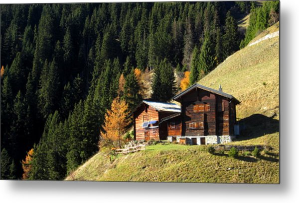 Two Chalets On A Mountainside Metal Print