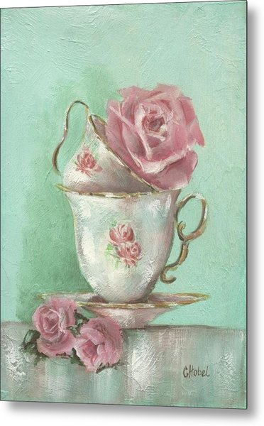 Two Cup Rose Painting Metal Print