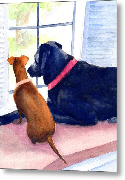 Two Dogs Looking Out A Window Metal Print