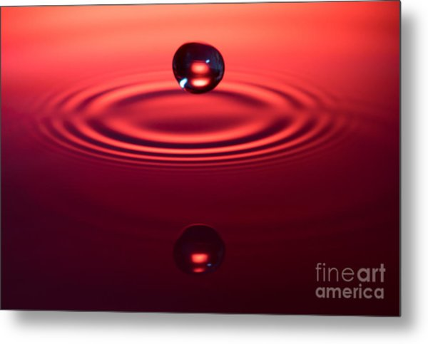 Two Drops And A Ripple Metal Print