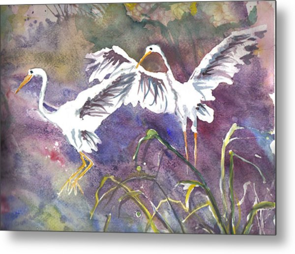 Two Egrets Metal Print