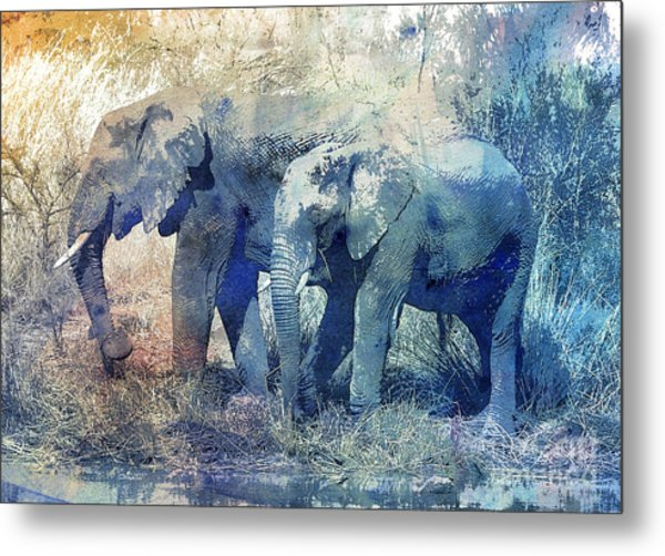 Two Elephants Metal Print