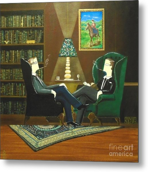 Two Gentlemen Sitting In Wingback Chairs At Private Club Metal Print