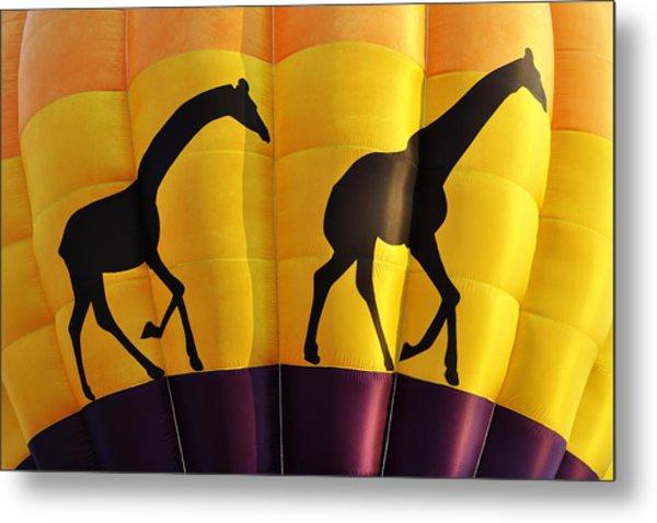 Two Giraffes Riding On A Hot Air Balloon Metal Print