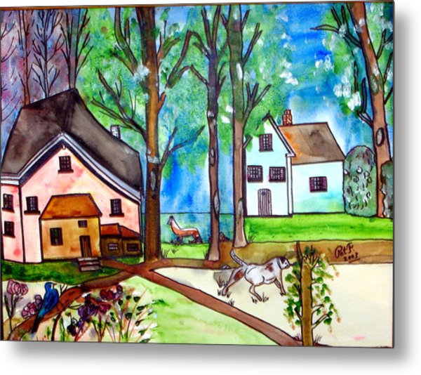 Two Houses In The Woods. Metal Print by Patricia Fragola
