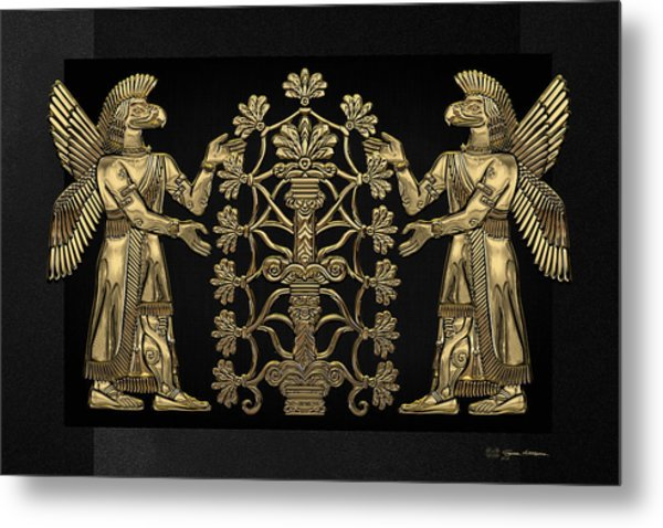 Two Instances Of Gold God Ninurta With Tree Of Life Over Black Canvas Metal Print