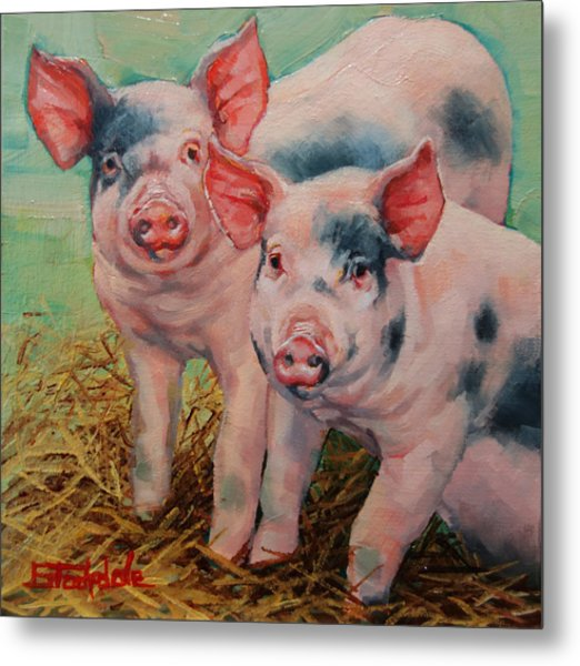 Two Little Pigs  Metal Print