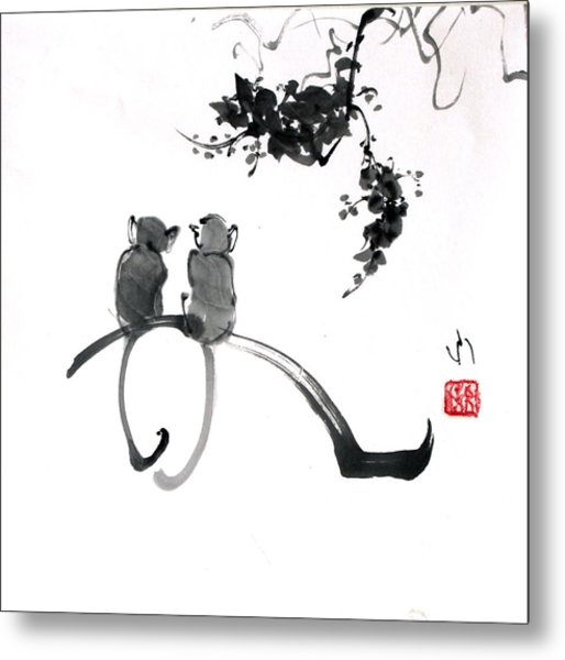 Two Monkeys Metal Print