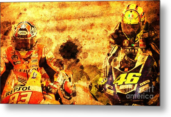 Two Motorcycles In Race Hard Fight Metal Print