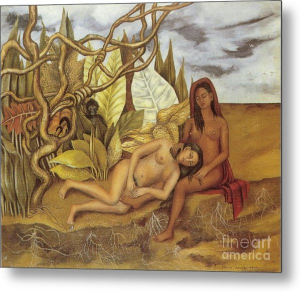 Two Nudes In The Forest Metal Print