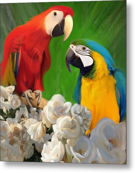 Two Parrots And White Roses Metal Print