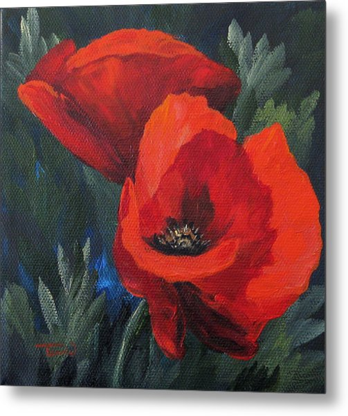 Two Poppies  Metal Print by Torrie Smiley