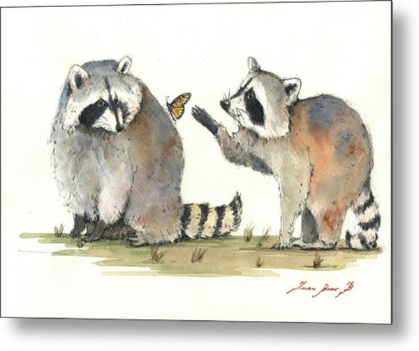 Two Raccoons Metal Print