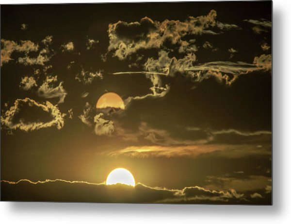 Two Suns Setting Metal Print