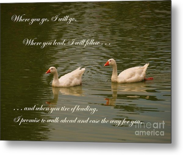 Two Swans - Marriage Vows Metal Print