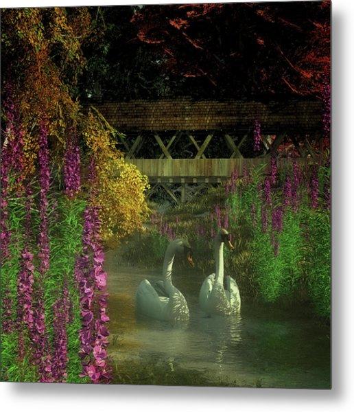 Two Swans And A Bridge Metal Print