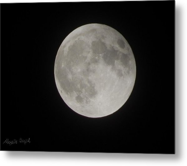 Two-tone Gray Moon Metal Print