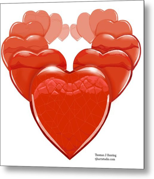 Metal Print featuring the digital art Two Hearts Become One by Thomas J Herring