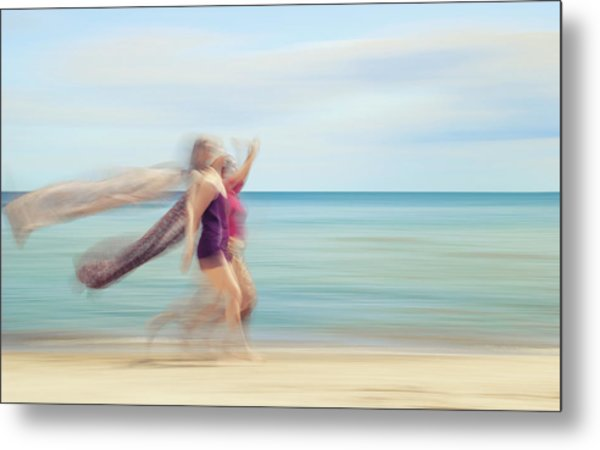 two women on beach No. 5 Metal Print by Holger Nimtz