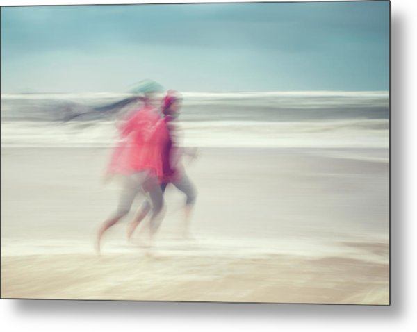 two women on beach No. 7 Metal Print by Holger Nimtz