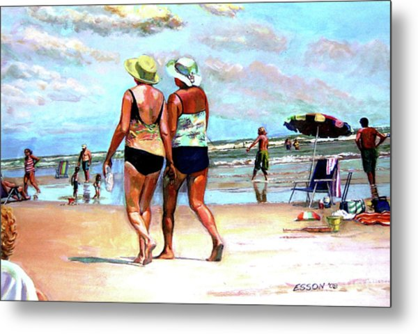Two Women Walking On The Beach Metal Print