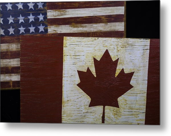 Two Wooden Flags American And Canadian Metal Print