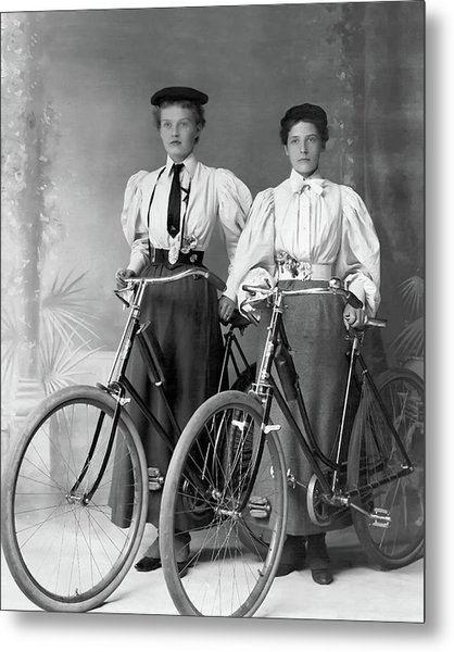 Two Young Ladies With Their Bicycles Circa 1895 Metal Print