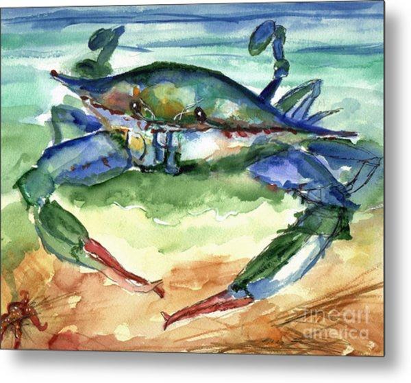 Tybee Blue Crab Metal Print by Doris Blessington