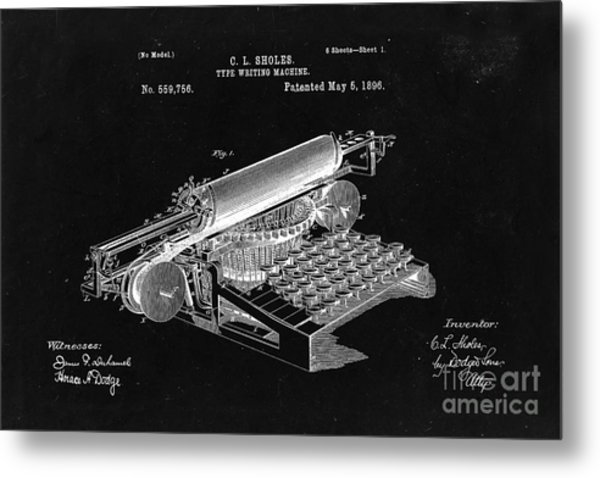 Type Writing Machine Patent From 1896  - Black Metal Print