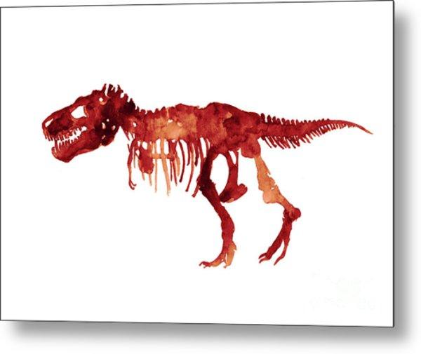 Tyrannosaurus Rex Skeleton Poster, T Rex Watercolor Painting, Red Orange Animal World Art Print Metal Print