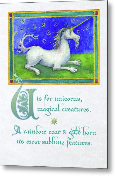 U Is For Unicorn Metal Print