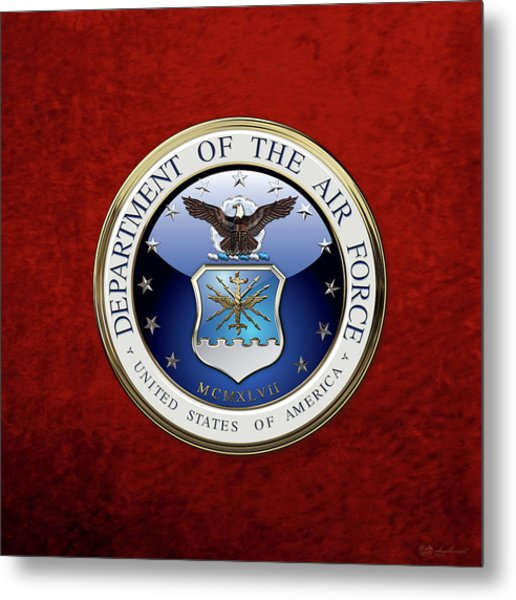 U. S.  Air Force  -  U S A F Emblem Over Red Velvet Metal Print
