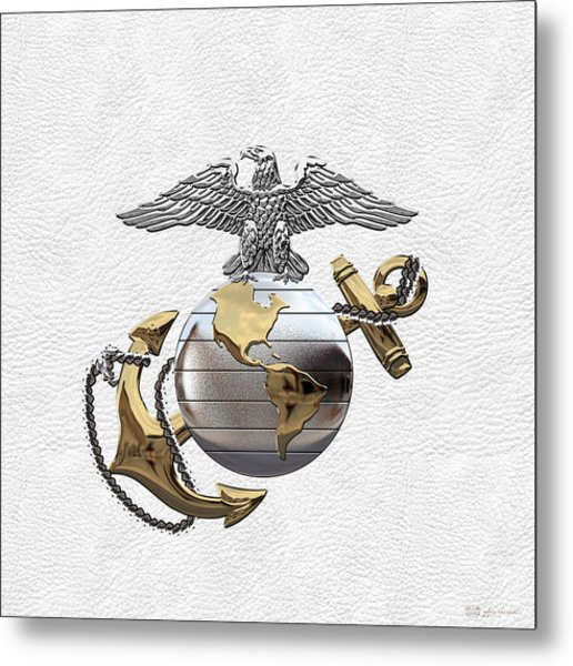U S M C Eagle Globe And Anchor - C O And Warrant Officer E G A Over White Leather Metal Print