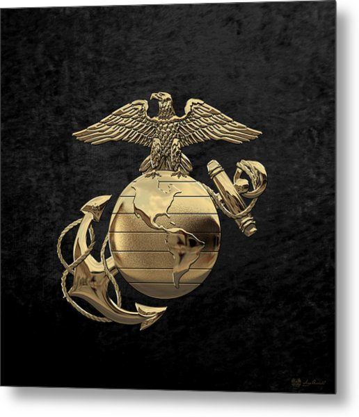U S M C Eagle Globe And Anchor - N C O And Enlisted E G A Over Black Velvet Metal Print