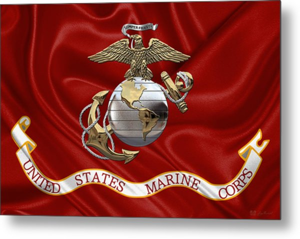 U. S.  Marine Corps - U S M C Eagle Globe And Anchor Over Corps Flag Metal Print