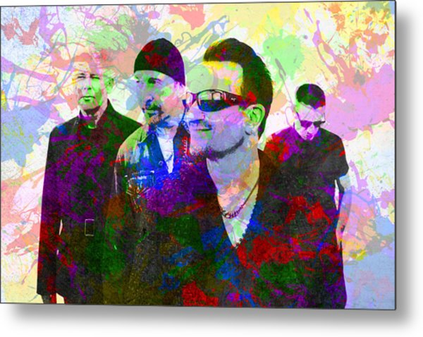 U2 Band Portrait Paint Splatters Pop Art Metal Print
