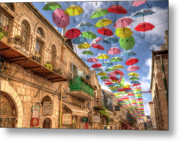 Umbrellas Over Jerusalem Metal Print