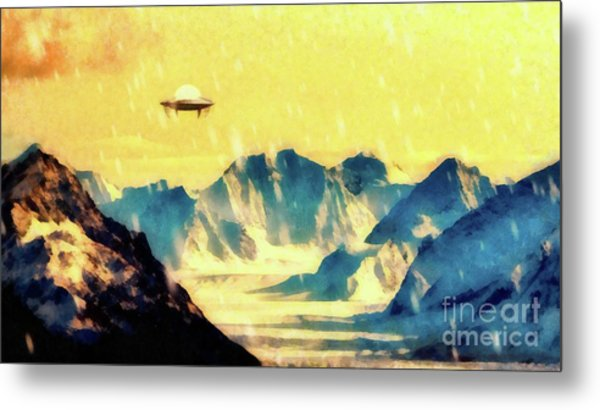 Ufo Over Snowy Mountains Metal Print