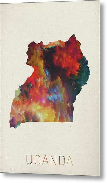 Uganda Watercolor Map Metal Print